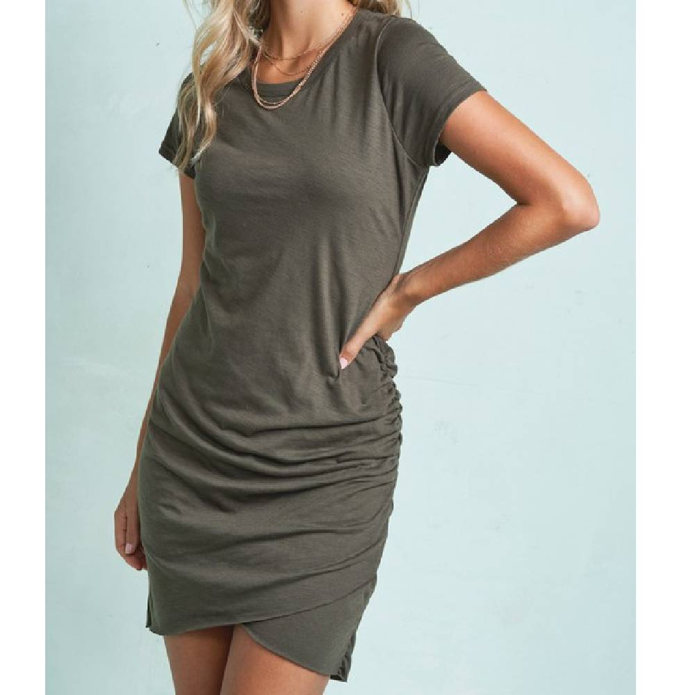 Gathered Waist Mini Dress - Olive WOMEN - Clothing - Dresses LA MIEL Teskeys