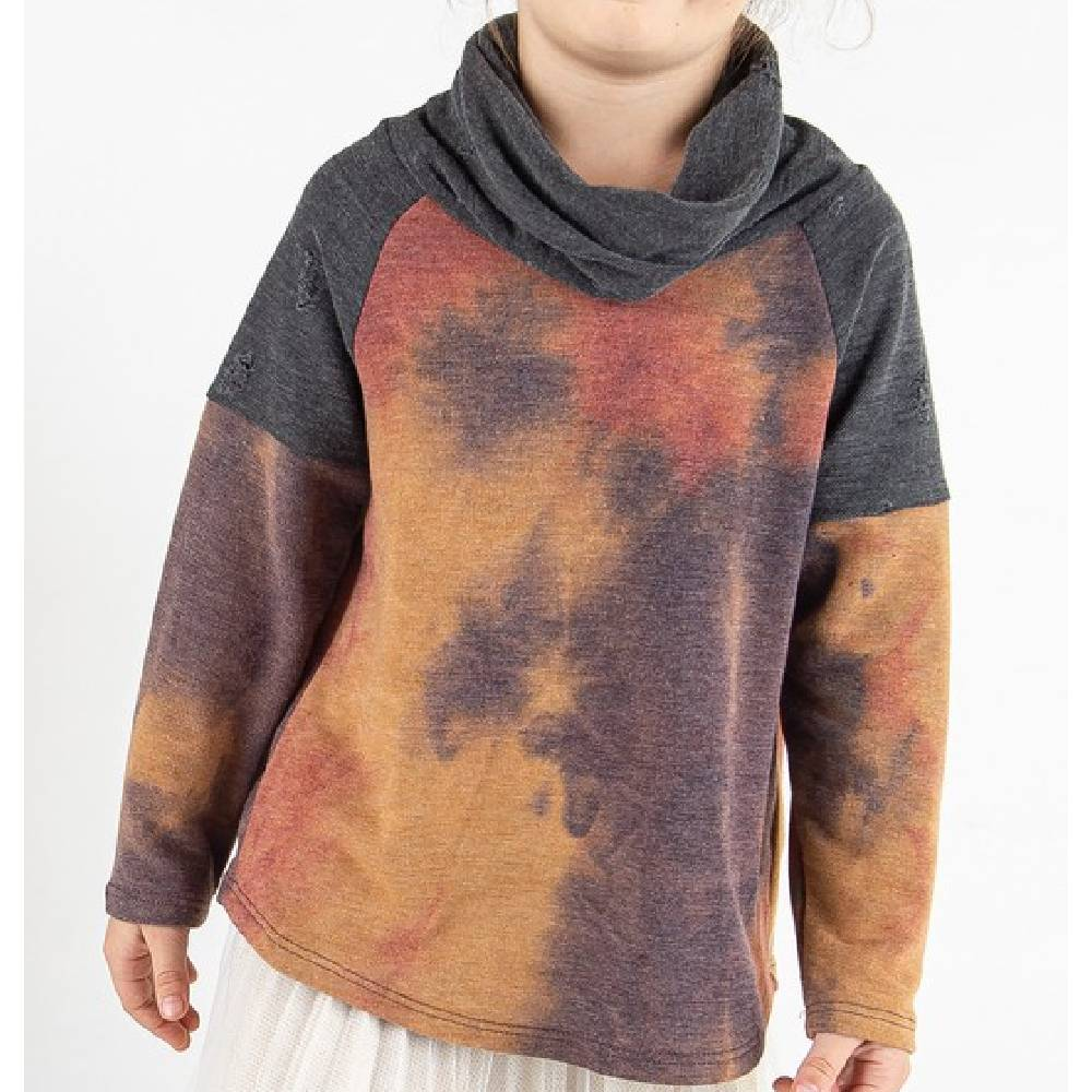 Girl's Cowl Neck Tie Dye Top KIDS - Girls - Clothing - Tops - Long Sleeve Tops 12PM By Mon Ami Teskeys