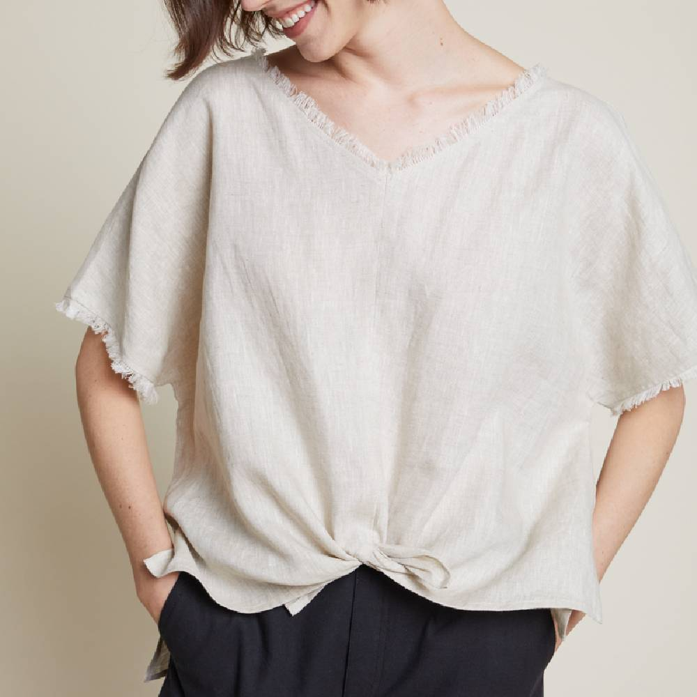 Front Slit Linen Top WOMEN - Clothing - Tops - Short Sleeved Grade & Gather Teskeys
