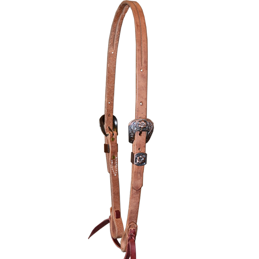 Teskey's Slit Ear Double Engraved Buckle Headstall Tack - Headstalls - One Ear Teskey's Teskeys