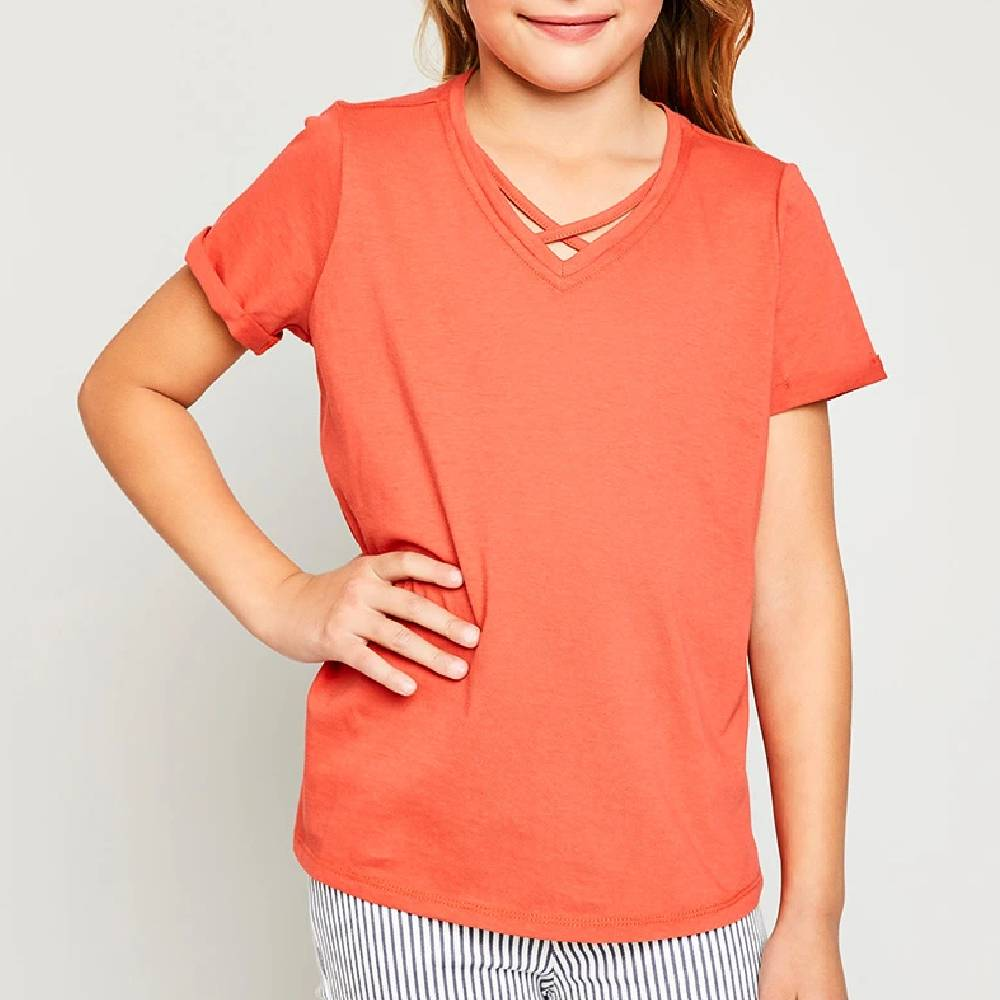 Girls Criss Cross Neck Tee KIDS - Girls - Clothing - Tops - Short Sleeve Tops HAYDEN LOS ANGELES Teskeys