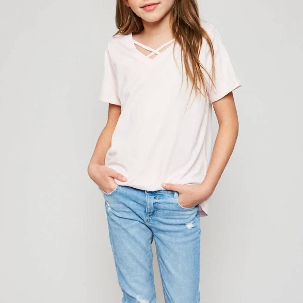 Girls Criss Cross Neck Tee KIDS - Girls - Clothing HAYDEN LOS ANGELES Teskeys