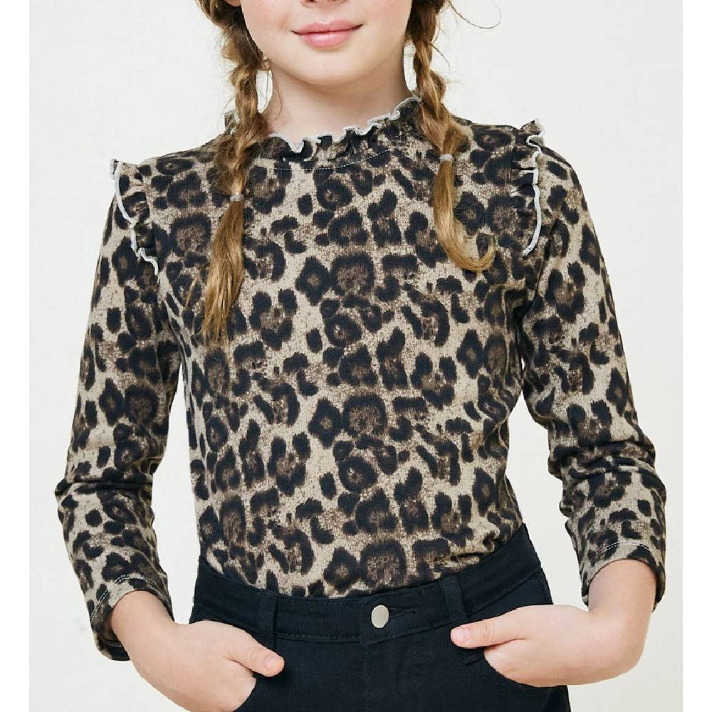Girls Leopard Ruffle Neck Top KIDS - Girls - Clothing - Tops - Long Sleeve Tops HAYDEN LOS ANGELES Teskeys
