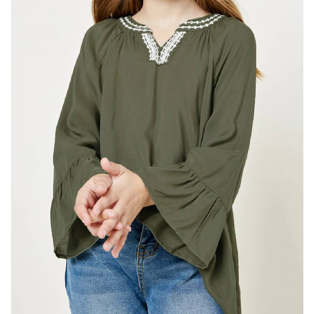 Girls Ruffle Sleeve Top KIDS - Girls - Clothing - Tops - Long Sleeve Tops HAYDEN LOS ANGELES Teskeys