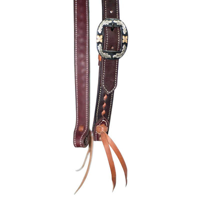 "Wildfire Saddlery 1"" Chocolate Headstall with Tan Buckstitching Tack - Headstalls - One Ear Partrade Teskeys"