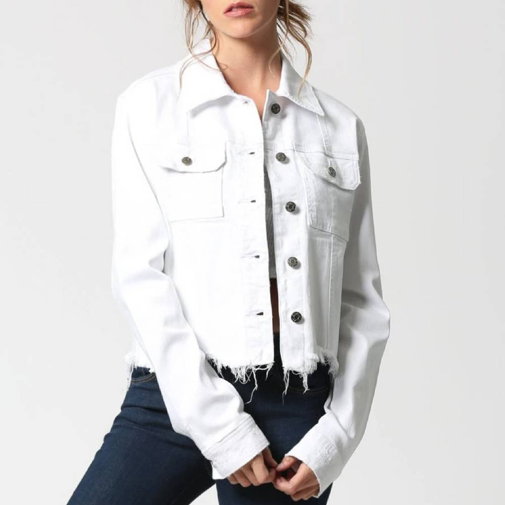 Hidden White Cropped Frayed Hem Jacket WOMEN - Clothing - Outerwear - Jackets HIDDEN JEANS Teskeys