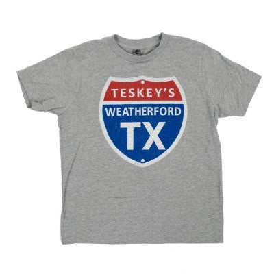Teskey's Youth Short Sleeve Highway Sign Tee - Grey TESKEY'S GEAR - Youth SS Shirts OURAY SPORTSWEAR Teskeys