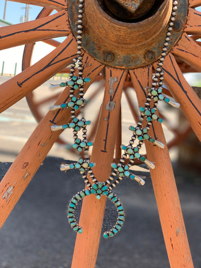 Campitos Turquoise Squash Blossom - P. Johnson WOMEN - Accessories - Jewelry - Necklaces SUNWEST SILVER Teskeys