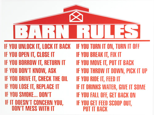 Barn Rules Sign FARM & RANCH - Barn Supplies Teskeys Teskeys