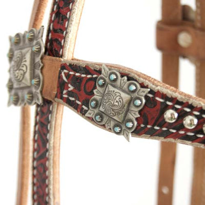 Teskey's Red Western Print Browband Headstall with Silver Spots and Square Conchos Tack - Headstalls - Browband Teskey's Teskeys