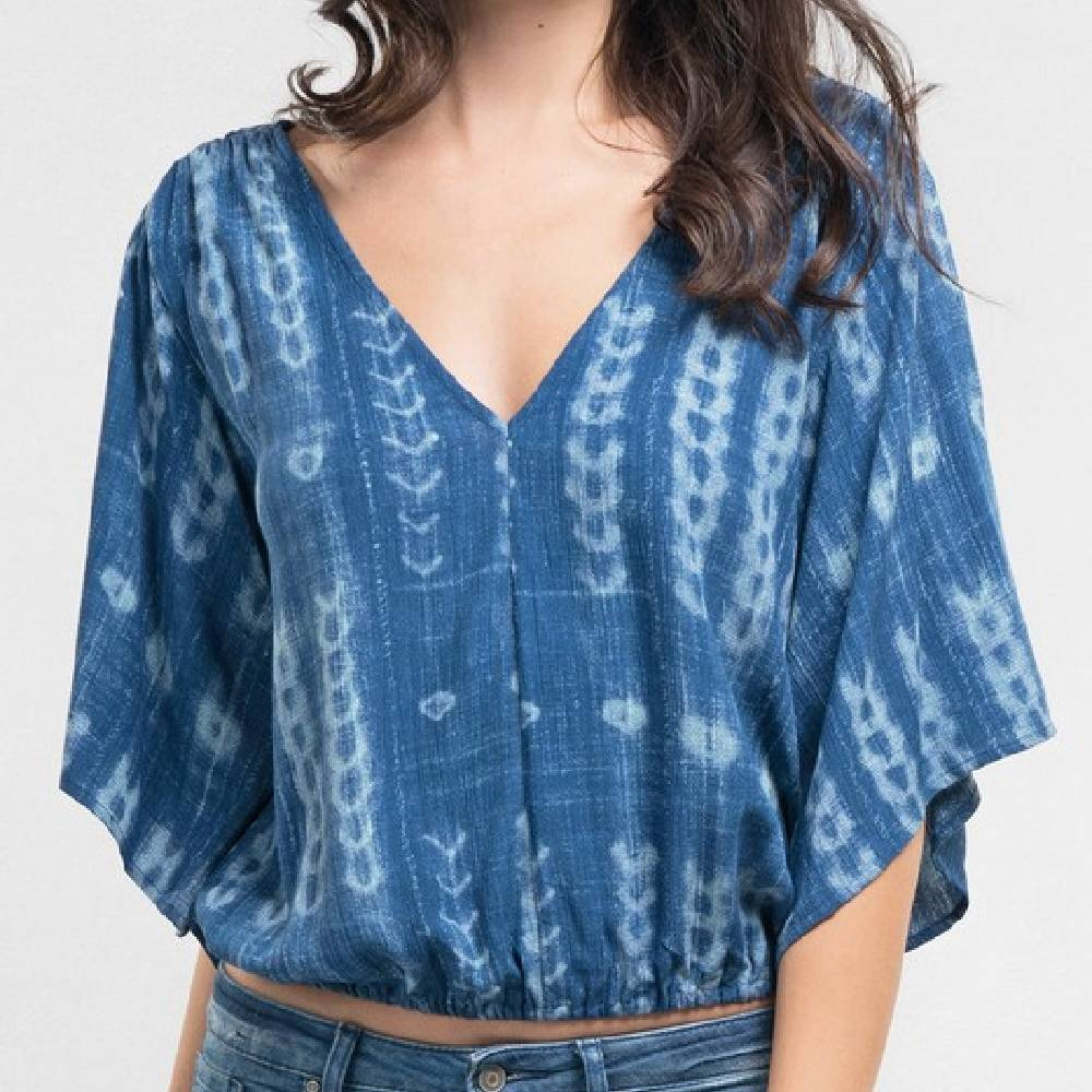Indigo Tie Back Top WOMEN - Clothing - Tops - Short Sleeved Clothing Illustrated, Inc. Teskeys