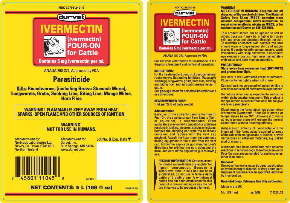 Ivermectin Pour On For Cattle Farm & Ranch - Animal Care - Livestock - De-Wormer Duravet Teskeys