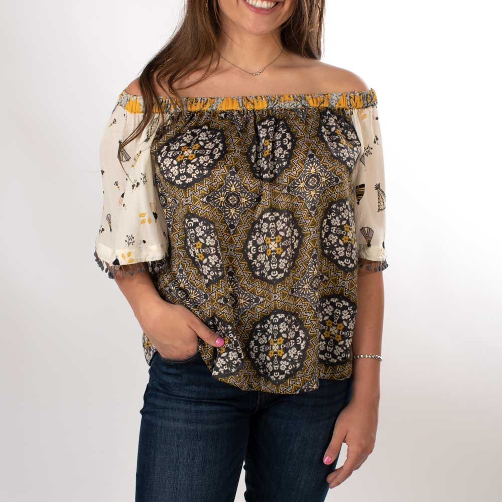Ivy Jane Off The Shoulder Print Top WOMEN - Clothing - Tops - Long Sleeved IVY JANE Teskeys