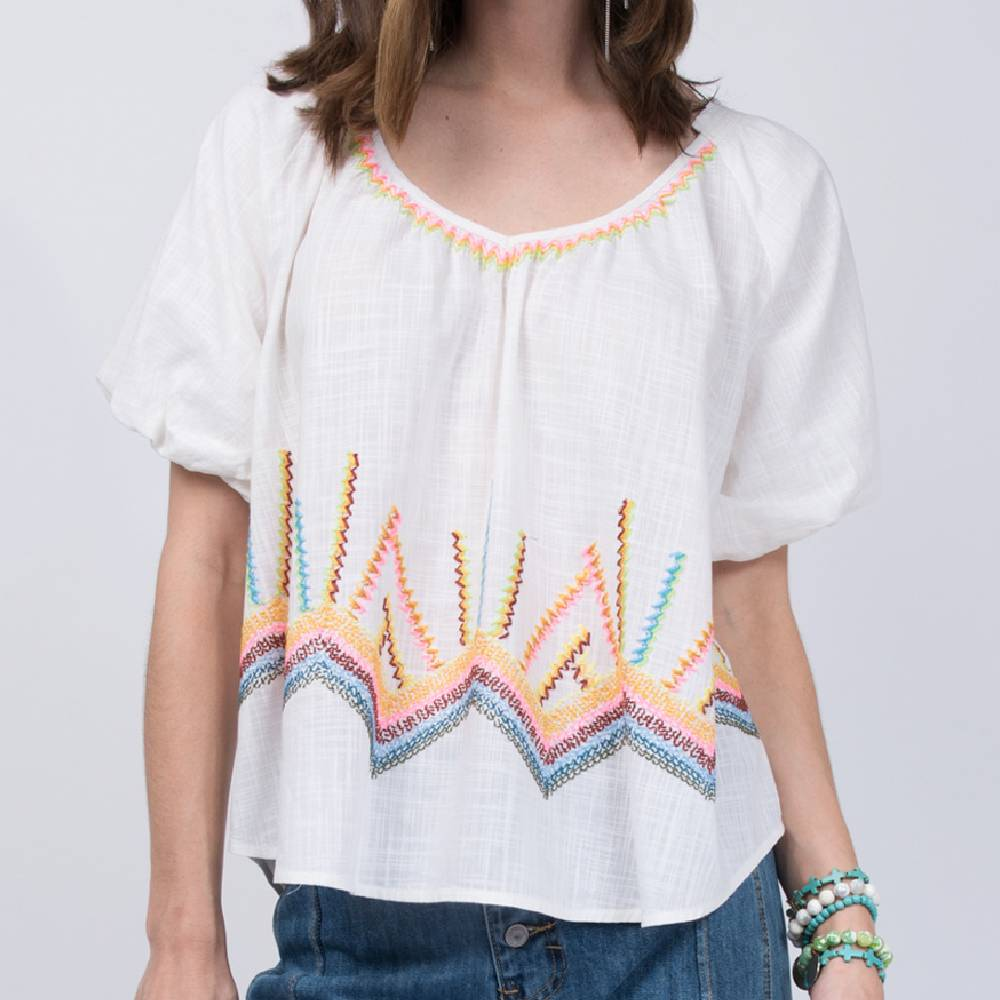 Ivy Jane Rainbow Embroidered Top WOMEN - Clothing - Tops - Short Sleeved IVY JANE Teskeys