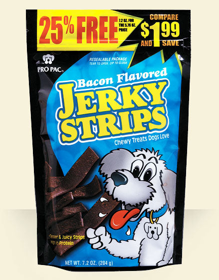 PRO PAC® Bacon Flavored Jerky Strips FARM & RANCH - Animal Care - Pets - Toys & Treats PRO PAC Teskeys