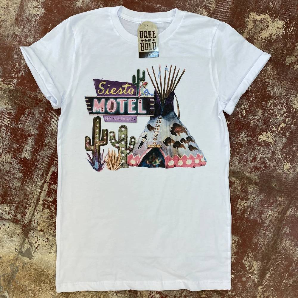 Siesta Tipi Motel Tee WOMEN - Clothing - Tops - Short Sleeved J. FORKS Teskeys