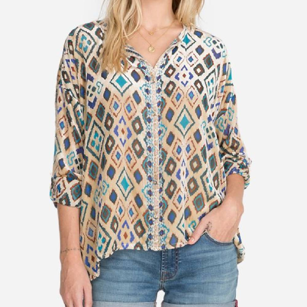 Johnny Was Ikat Blouse WOMEN - Clothing - Tops - Long Sleeved JOHNNY WAS COLLECTION Teskeys