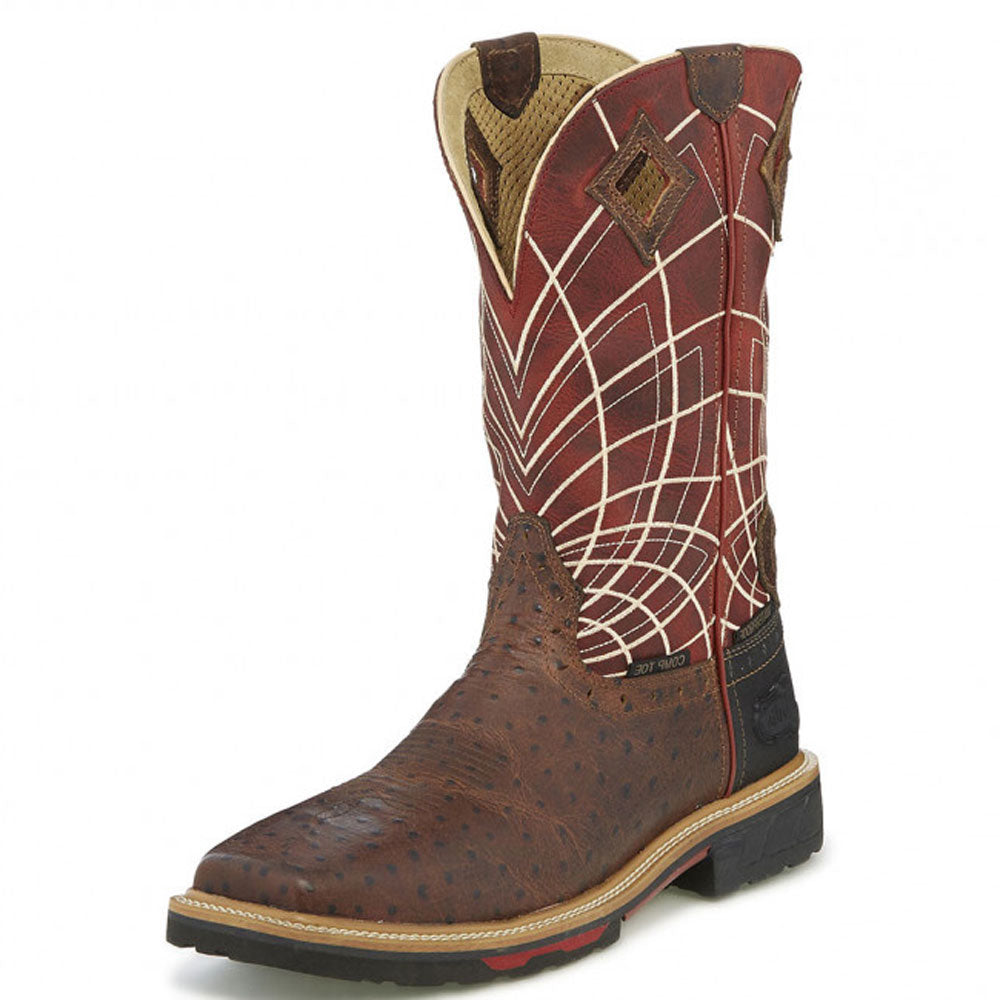 Derrickman Ostrich Print Comp Toe Work Boot MEN - Footwear - Work Boots JUSTIN BOOT CO. Teskeys