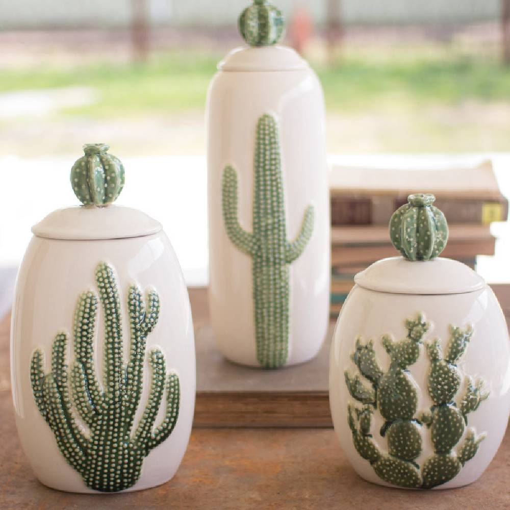 Ceramic Cactus Canister Home & Gifts - Home Decor - Decorative Accents KALALOU Teskeys