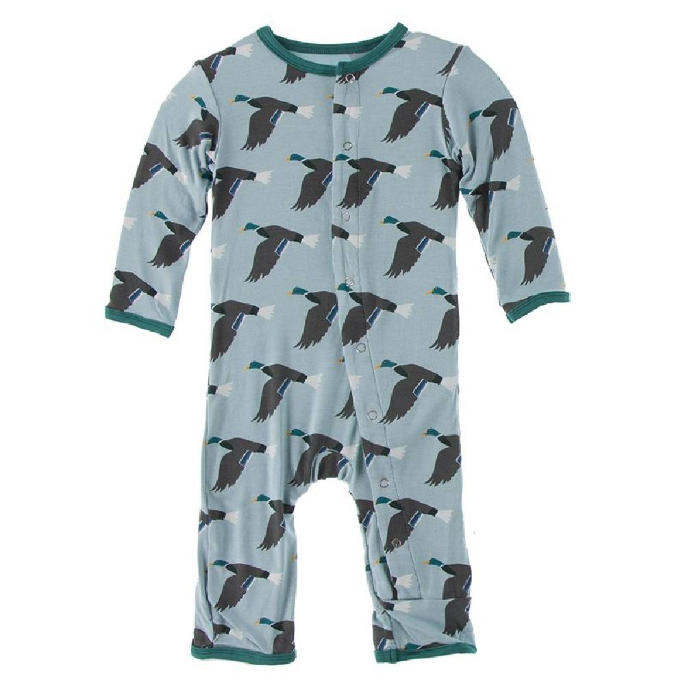 Kickee Pants Coverall with Snaps - Jade Mallard Duck