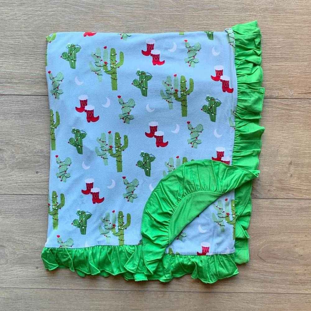 Kozi & Co Christmas Ruffle Cactus Blanket KIDS - Baby - Baby Accessories KOZI & CO Teskeys