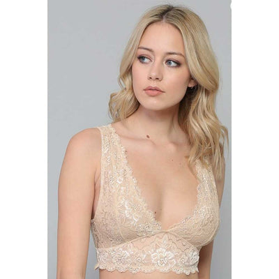 Double V-Neck Lace Bralette WOMEN - Clothing - Intimates & Hosiery BY TOGETHER Teskeys