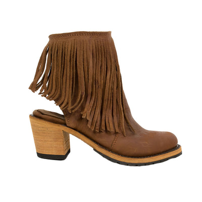 Open Heel with Fringe boot, by Liberty Black