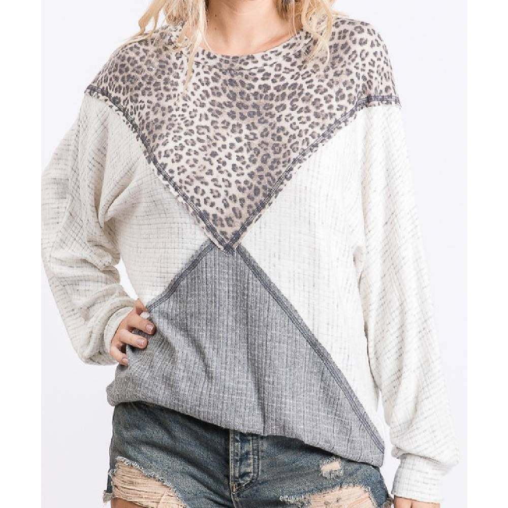 Leopard and Ivory Color Blocked Top