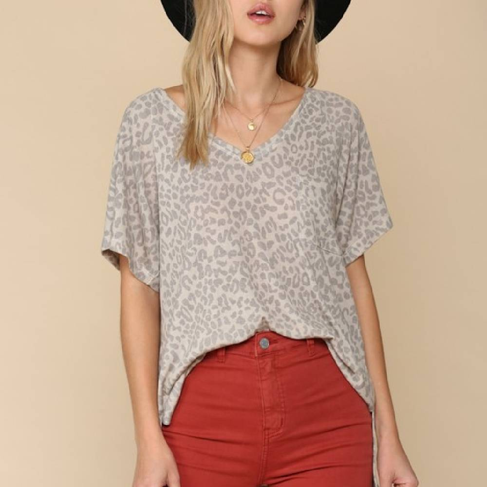 Leopard Knit Taupe Top WOMEN - Clothing - Tops - Short Sleeved BY TOGETHER Teskeys