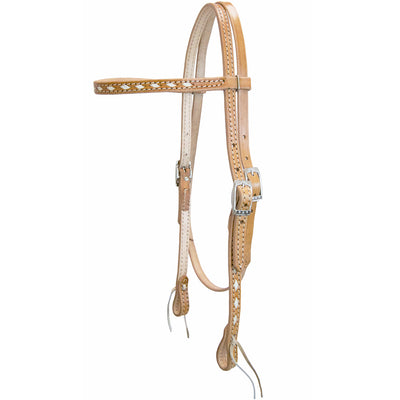 Teskey's Browband Headstall with White Buckstitch Tack - Headstalls - Browband Teskey's Teskeys