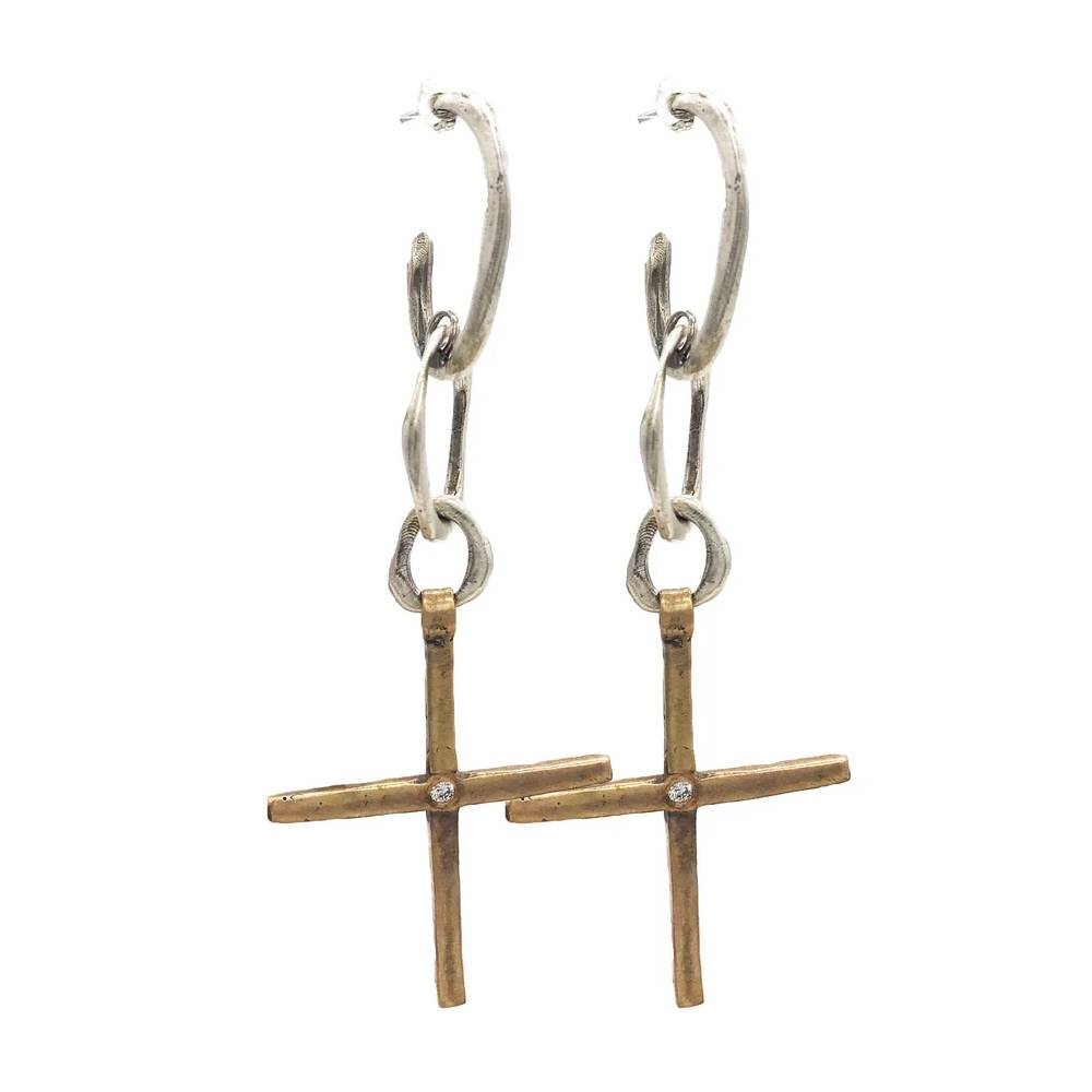 Love Tokens Mixed Metal Cross Earrings WOMEN - Accessories - Jewelry - Earrings LOVE TOKENS Teskeys