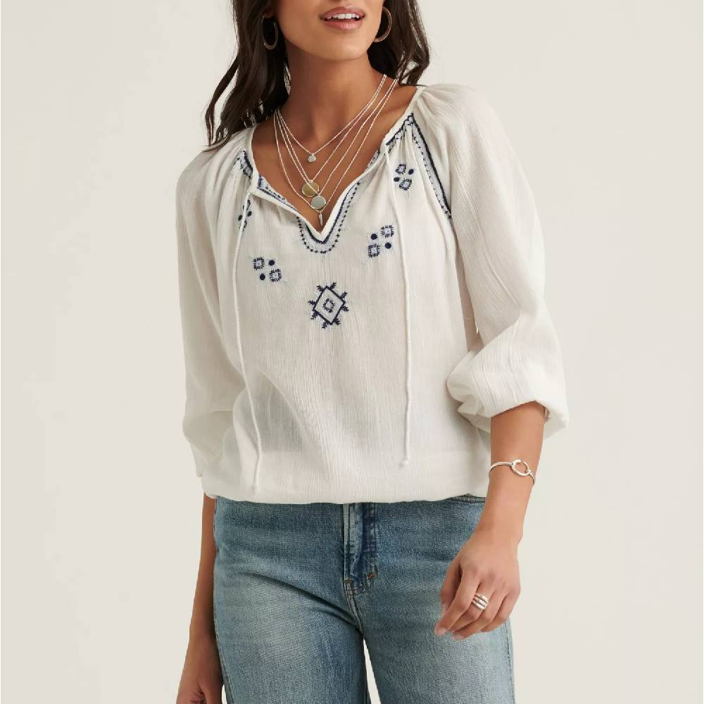 Lucky Brand Embroidered Peasant Top WOMEN - Clothing - Tops - Long Sleeved LUCKY BRAND JEANS Teskeys