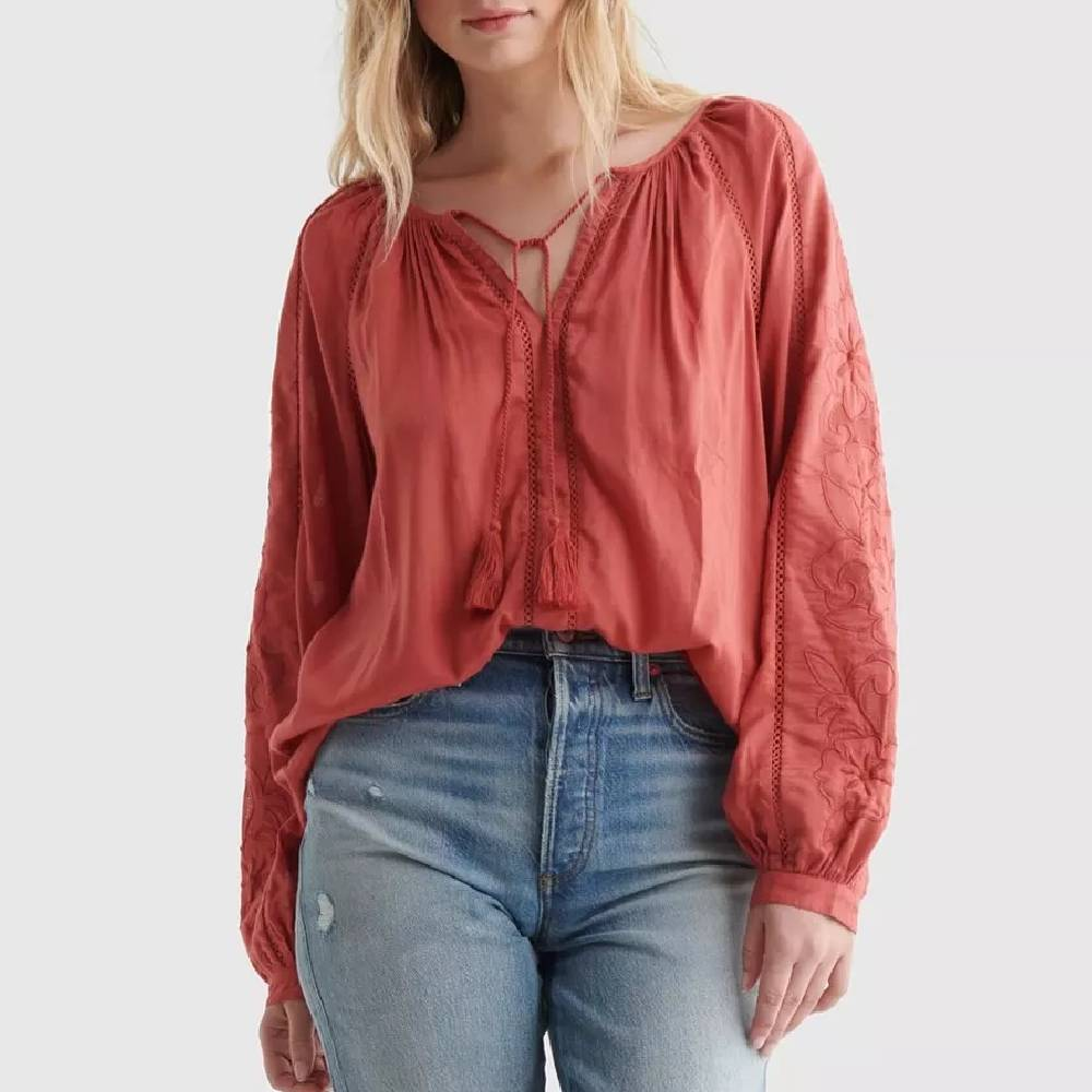 Lucky Brand Peasant Top WOMEN - Clothing - Tops - Long Sleeved LUCKY BRAND JEANS Teskeys