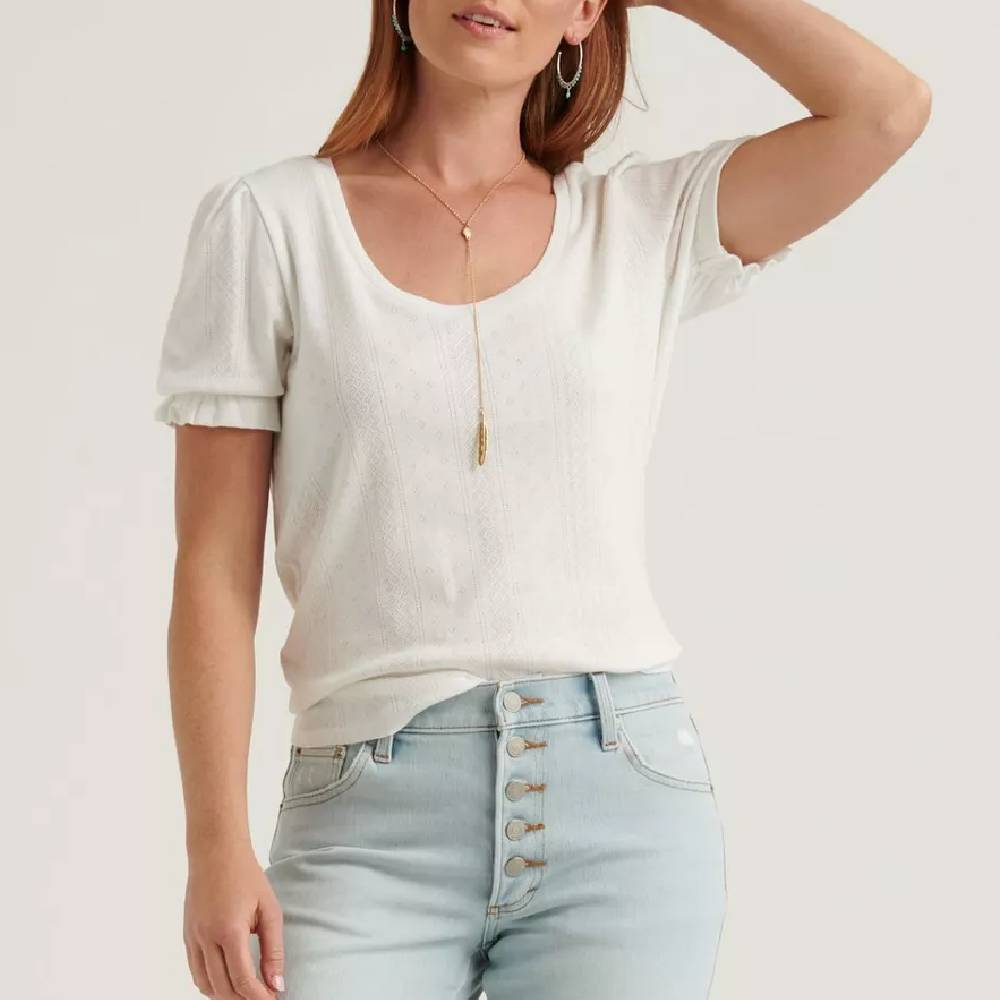 Lucky Brand Pointelle Scoop Top WOMEN - Clothing - Tops - Short Sleeved LUCKY BRAND JEANS Teskeys