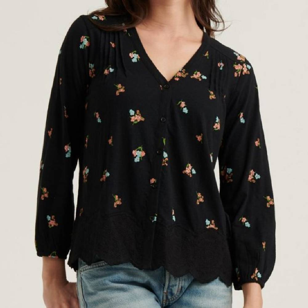 Lucky Brand V-Neck Button Peasant Top WOMEN - Clothing - Tops - Tunics LUCKY BRAND JEANS Teskeys