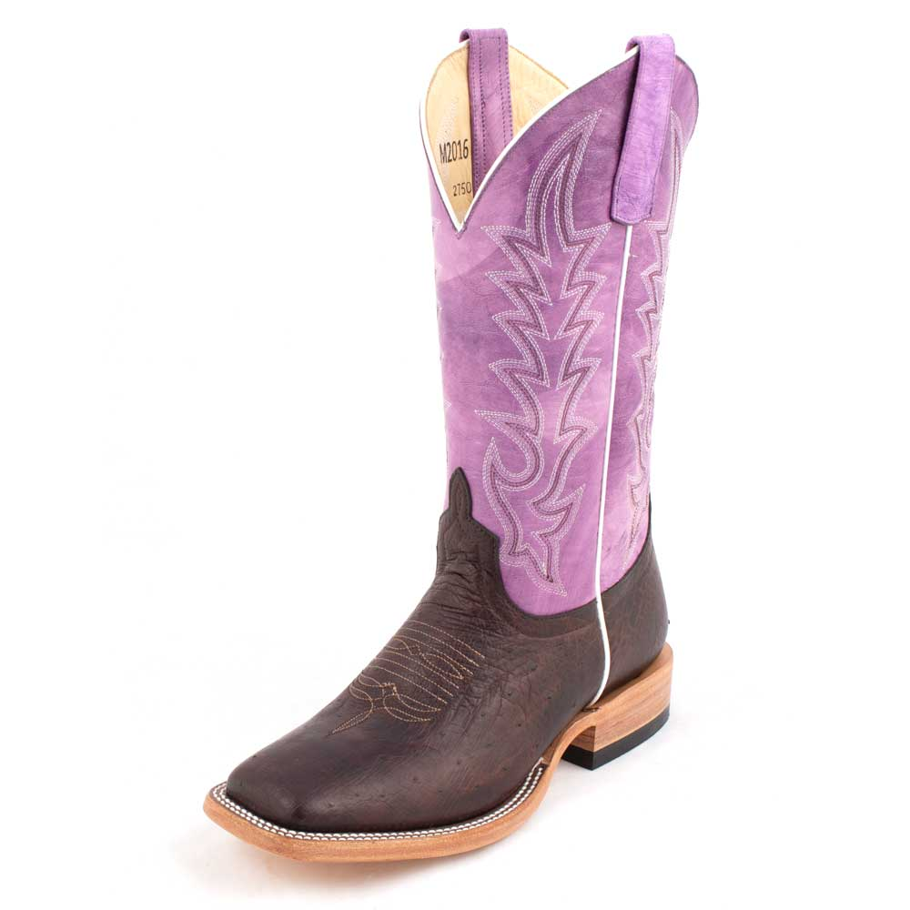 Macie Bean Nicotine Smooth Ostrich Boot WOMEN - Footwear - Boots - Western Boots ANDERSON BEAN BOOT CO. Teskeys