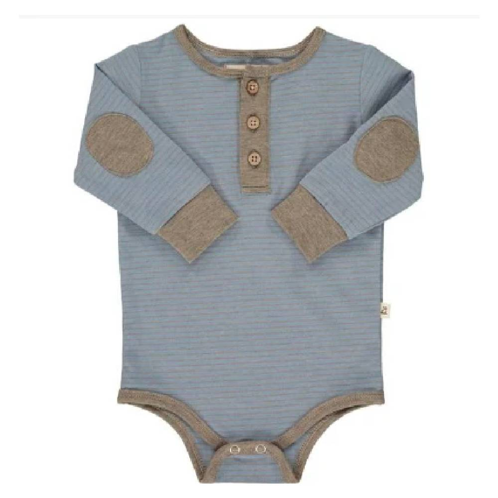 Me & Henry Blue Stripe Henley Onesie KIDS - Baby - Baby Boy Clothing Me & Henry Teskeys