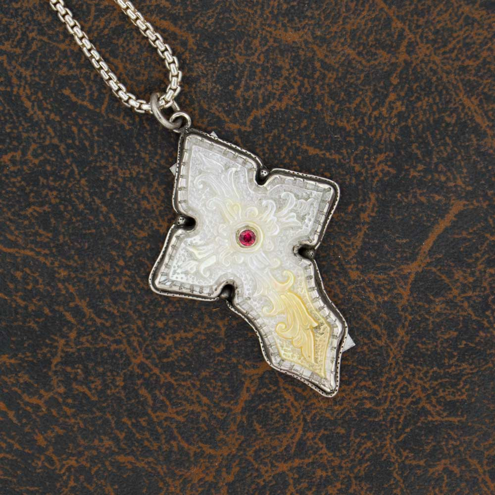 Comstock Heritage Carved Mother of Pearl Cross Necklace