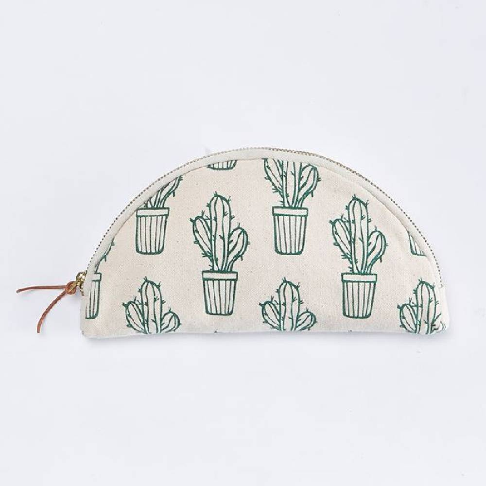 Mud Pie Cactus Canvas Cosmetic Bay WOMEN - Accessories - Handbags - Clutches & Pouches Mud Pie Teskeys