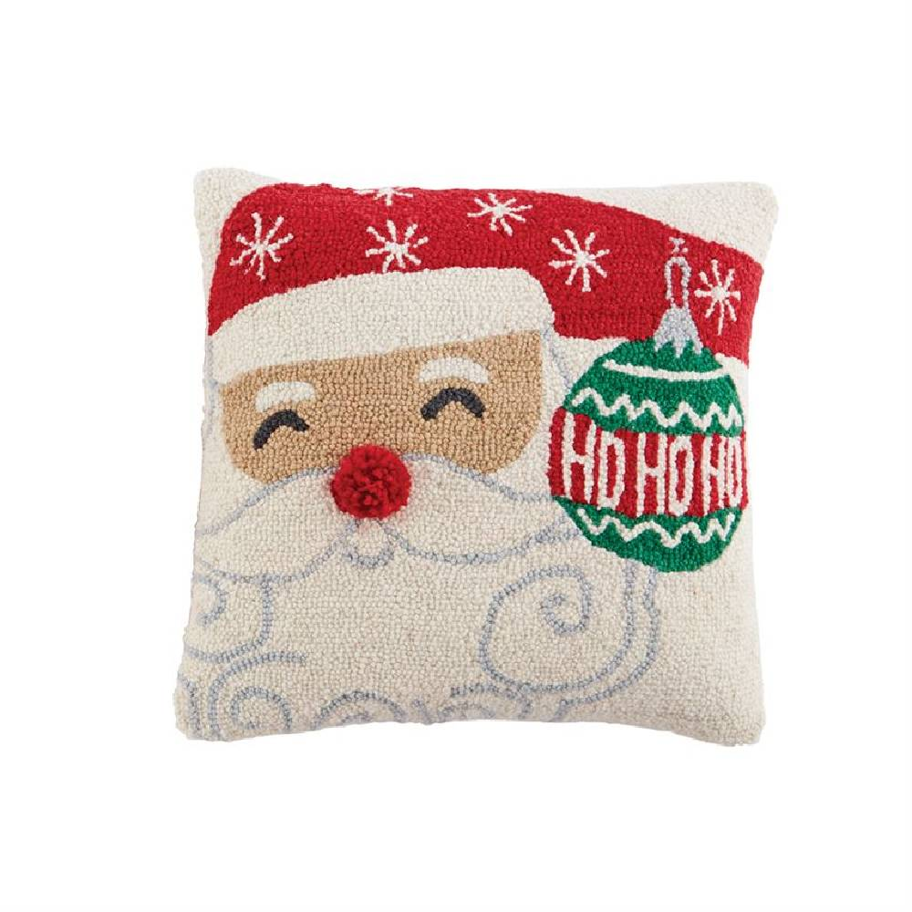 Mud Pie Santa Hook Wool Pillow HOME & GIFTS - Home Decor - Seasonal Decor Mud Pie Teskeys