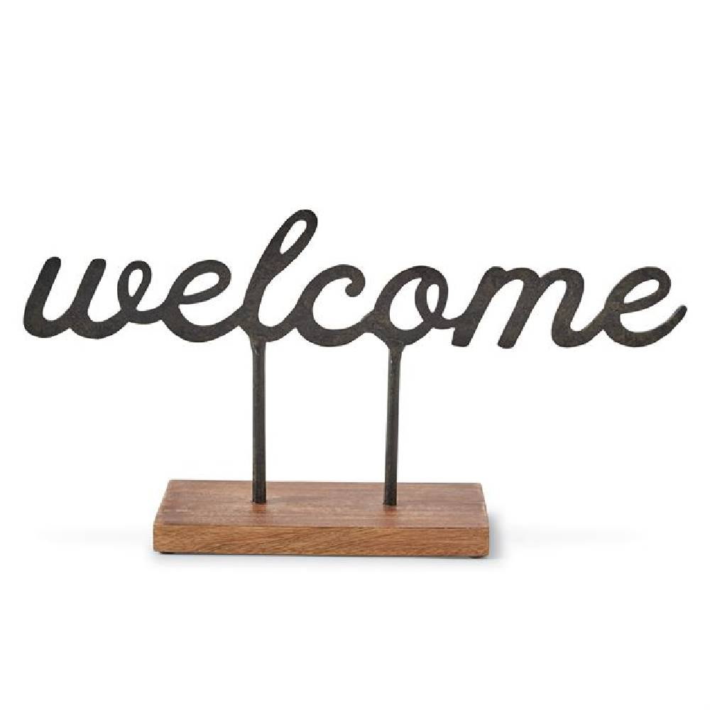 Mud Pie Welcome Metal Sitter HOME & GIFTS - Home Decor - Decorative Accents Mud Pie Teskeys
