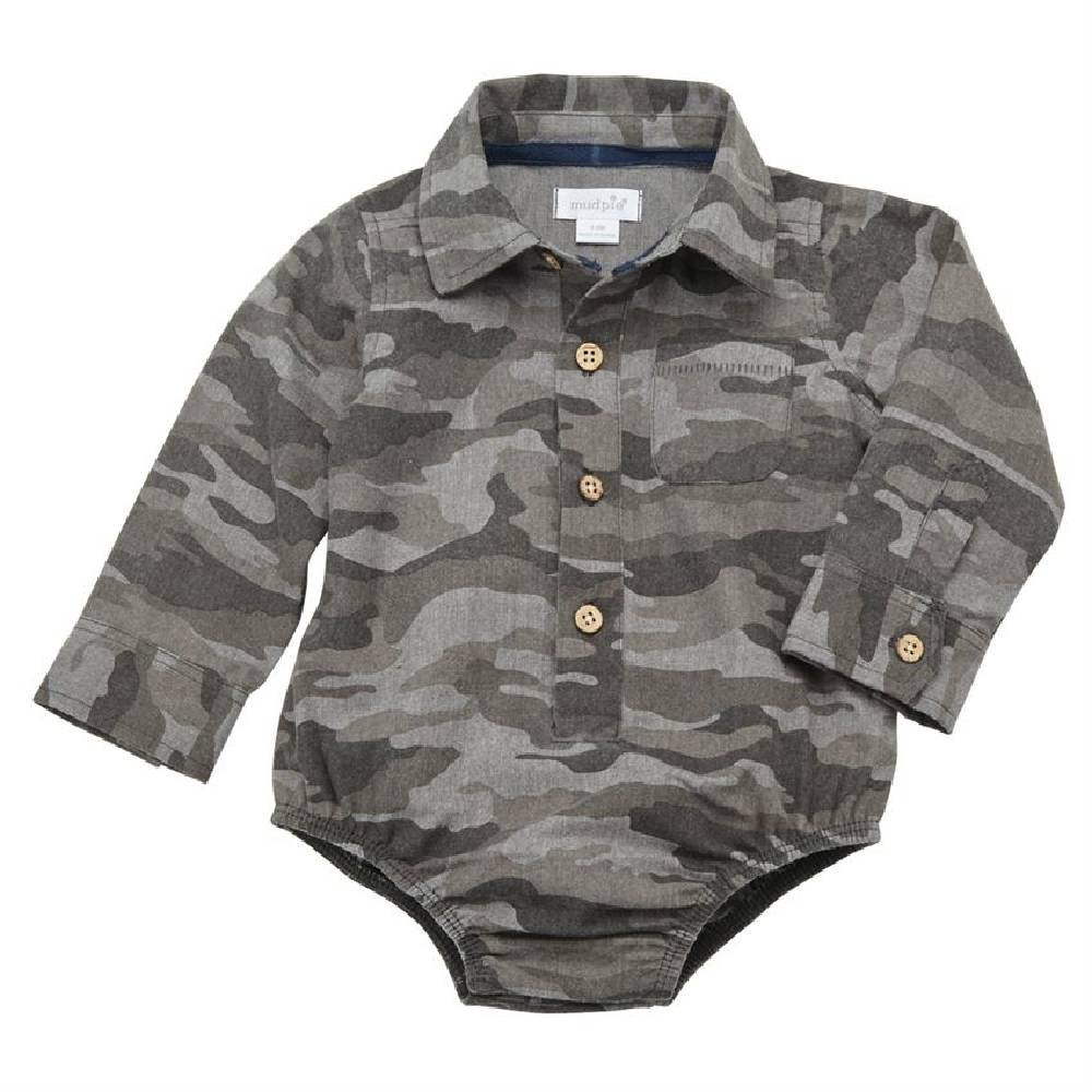 Mud Pie Camo Button-Down Crawler KIDS - Baby - Baby Boy Clothing Mud Pie Teskeys