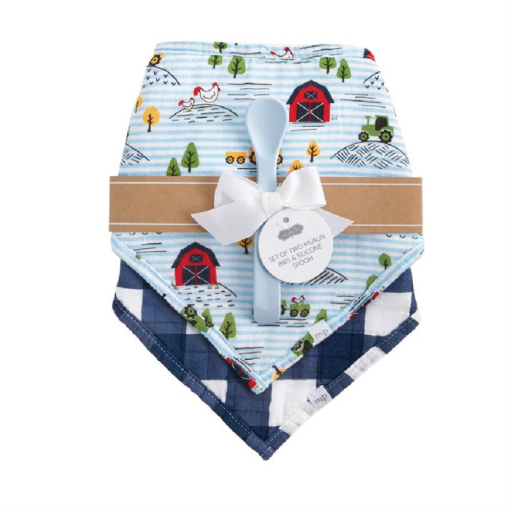 Mud Pie Farm Muslin Bibs & Spoon Set KIDS - Baby - Baby Accessories Mud Pie Teskeys