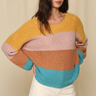 Multi Color Block Stripe Sweater WOMEN - Clothing - Sweaters & Cardigans BY TOGETHER Teskeys