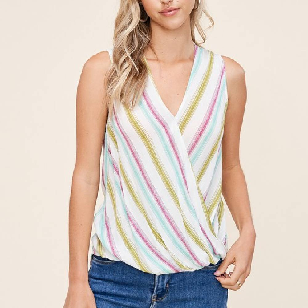Multi Stripe Wrap Tank WOMEN - Clothing - Tops - Sleeveless STACCATO Teskeys