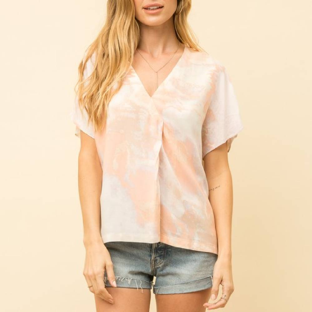Blush Tie Dye Top WOMEN - Clothing - Tops - Short Sleeved MYSTREE INC. Teskeys