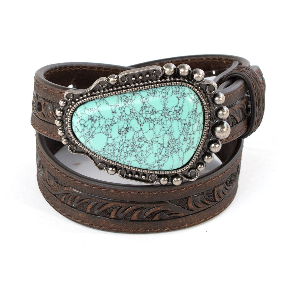Nocona Turquoise Stone Buckle Belt KIDS - Accessories - Belts M&F WESTERN PRODUCTS Teskeys
