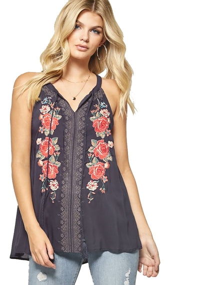 Floral Embroidered Tank WOMEN - Clothing - Tops - Sleeveless ANDREE BY UNIT FASHION Teskeys