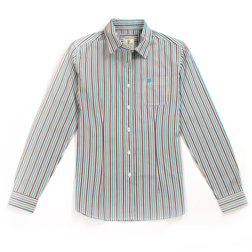 Panhandle Stripe Button Up Shirt WOMEN - Clothing - Tops - Long Sleeved Panhandle Teskeys