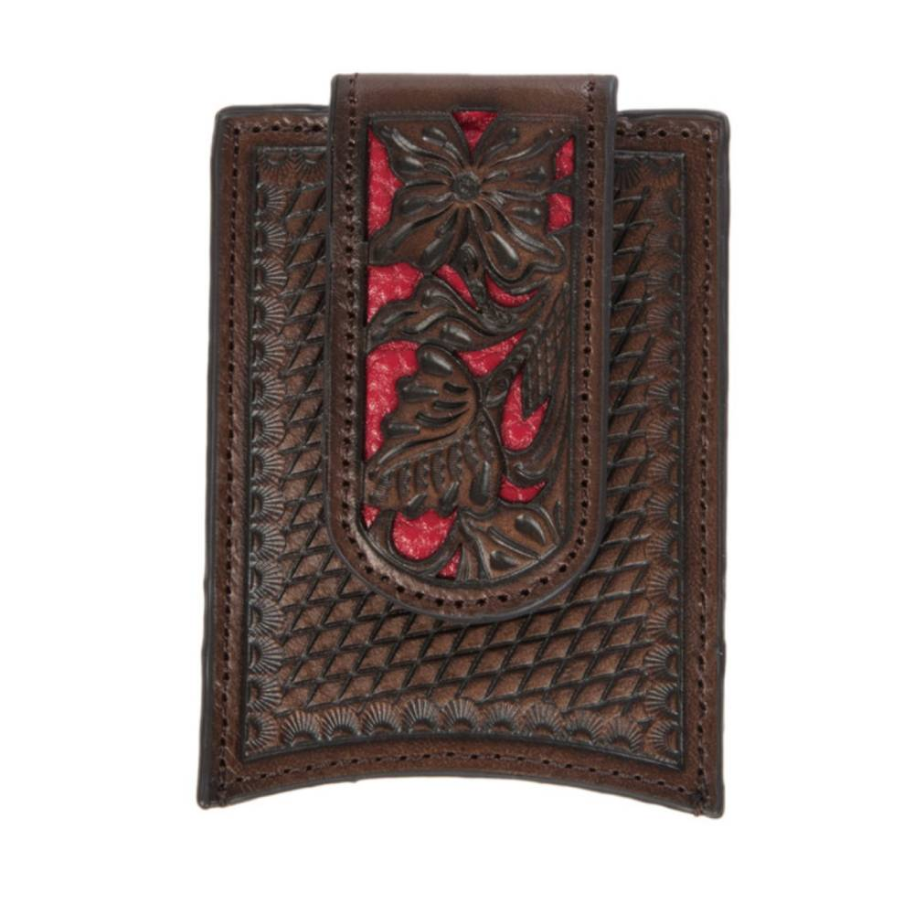 Nocona Red Inlay Leather Money Clip MEN - Accessories - Wallets & Money Clips M&F Western Products Teskeys